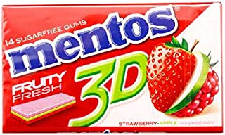 Mentos 3D Fruity Fresh with Strawberry, Apple and Raspberry - 33 gm