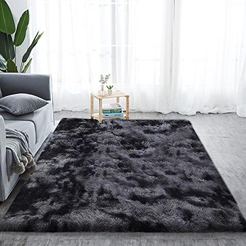 Alfombra de pelo largo para salón, suave área de rea, dormitorio, Shaggy, dormitorio, alfombra de cama, exterior, color gris oscuro, 230 x 300 cm