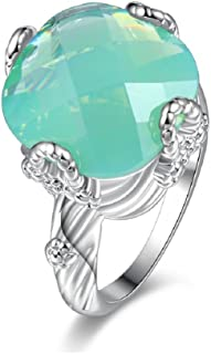 Uloveido Super Big Green Asscher-shape Stone خاتم الخطوبة للنساء مع Birthstone Y348