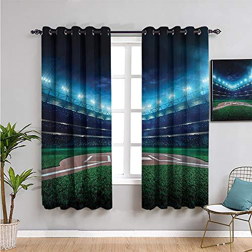 Pcglvie Cortinas opacas de béisbol para dormitorio, cortinas de 213 cm de largo y noche de estadio de béisbol, uso repetible, 213 cm de ancho x 84 cm de largo