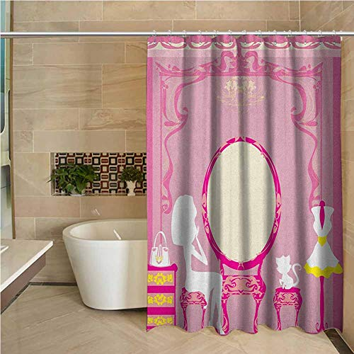 Girls Simple Shower Curtain Durable Shower Curtain 72x72 inch Lady Sitting in Front of French Cosmetic Make Up Mirror Furniture Dressy Design Pink Yellow