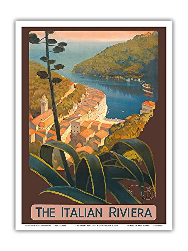 The Italian Riviera - Portofino, Italy - Vintage World Travel Poster by Mario Borgoni c.1920 - Master Art Print - 9in x 12in