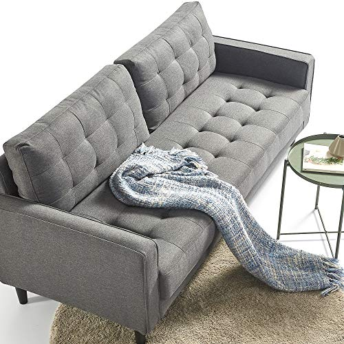 ZINUS Benton Sofa Couch / Grid Tufted Cushions / Easy, Tool-Free Assembly, Dark Grey