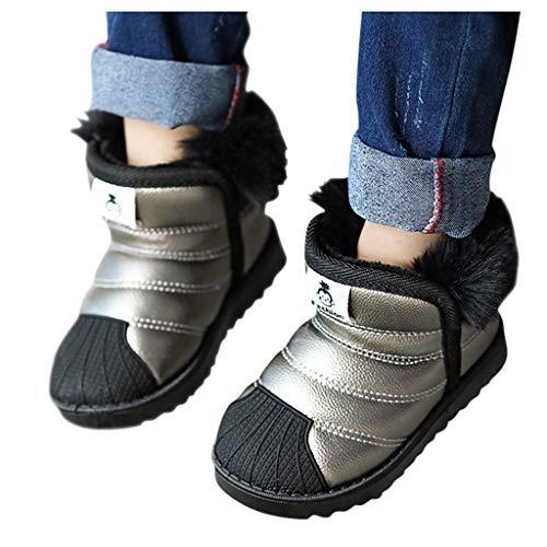 Luckycat Botas de Nieve para Niñas Impermeable Calentar Zapatos de Invierno para Niñas Cuero de la PU Algodón Zapatos Invierno Botas de Nieve Forradas Zapatillas Botines Planas para Unisex Niños