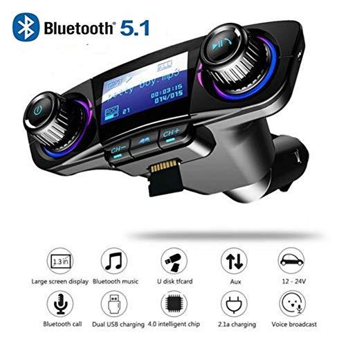 Iswell Transmisor FM Bluetooth, Bluetooth 5.1 Vehículo Inteligente Cargador Bluetooth...