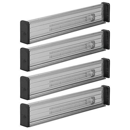 mDesign organisateur de tiroir (lot de 4) – séparateur de tiroir réglable en plastique – range couverts pour tiroir de cuisine, salle de bain ou chambre à coucher– gris fumée