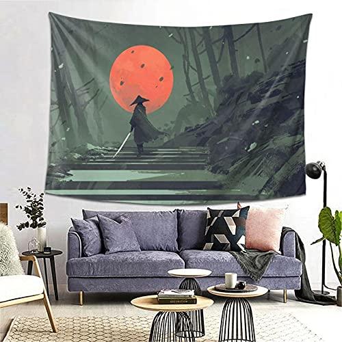FOURFOOL Tapiz,Samurai de pie en la escalera en el bosque de la noche con la luna roja de fondo,Decoración de la Pared Manta Arte de la Pared Tapiz Dormitorio Sala de Estar Toalla de Playa