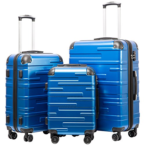 Coolife Luggage Expandable(only 28') Suitcase 3 Piece Set with TSA Lock Spinner 20in24in28in (blue)