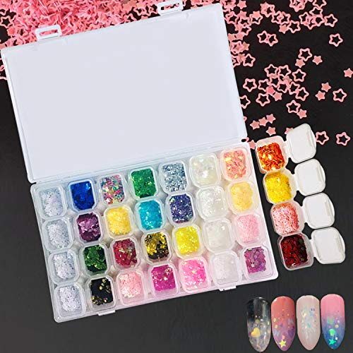 Magicdo 28 Clos Nail Art Glitter Powder Set, Haar Face Body Nagel Eye Make Up Festival Glitzer, Colour-Changing Nagel Pigment Sequins for Children & Adult Art Projects School or Scrapbooking Decor