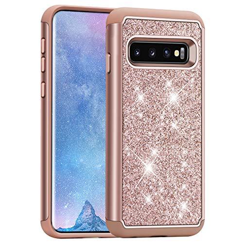 J&D Kompatibel für Galaxy S10 Hülle, [Glitzernd] [ArmorBox] [Doppelschicht] Funkelnd Heavy-Duty-Schutz Hybrid Stoßfest Schutzhülle für Samsung Galaxy S10 - [Nicht für Galaxy S10 Plus/S10e/S10 5G]