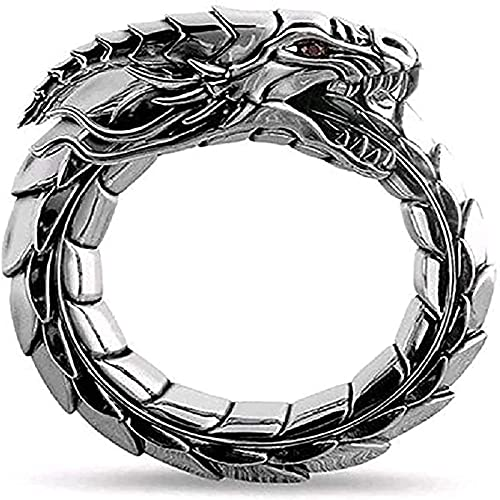 Anillo del Encanto de los Hombres de la Vendimia Anillo de Dragón para los Hombres Norse Vikings Head Vintage Totem Amuleto Hip Hop Biker Punk Animal Jewelry Hombres (Color : A, Size : 9)