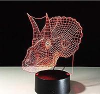 恐竜クリエイティブ3D目の錯覚ランプLED20色を変えるノベルティ寝室3D常夜灯動物の家の装飾