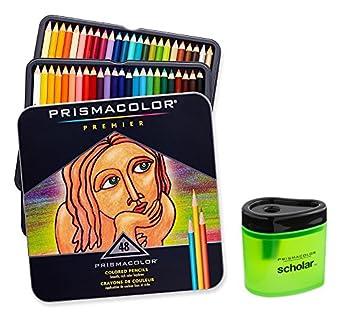 Prismacolor Premier Soft Core Colored Pencil Set of 48 Assorted Colors  3598T  + Prismacolor Scholar Colored Pencil Sharpener  1774266