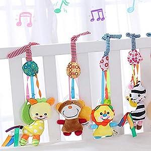 Czemo Juguetes Colgantes para Cochecitos, Juguete Actividades Musicales Sonajero Recien Nacido, Juguetes de Peluche Suave para Bebés para Cochecito, Cuna