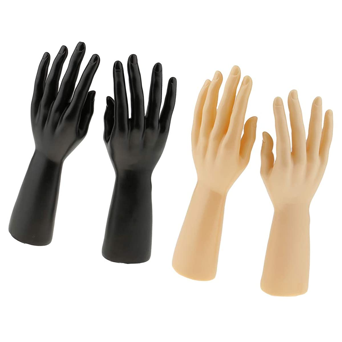Flameer 2 Pair of Male Mannequin Hand for Jewelry Bracelet Gloves Display Right Left, Black & Skin Color