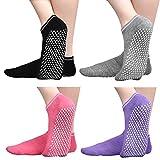 Anti Slip Non Skid Slipper Socks with Grips Sticky Home Hospital Athletic Socks for Adult Women 4 Pack