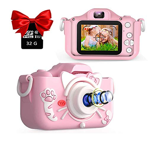 EKUPUZ Camera for Kids, Kids Digital Camera Toys,Dual Lens Kids Camera 2.0 Inch IPS Color Screen HD with MP3 Player 32GB SD Card and Camera case,for 3-9 Year Old Kids Best Birthday Gifts