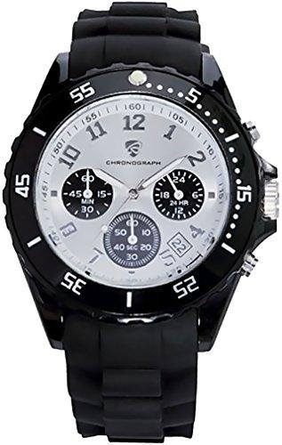 Golden Lutz® Herren Chronograph analog Quarz mit Silikon-Armband (schwarz Silber) | Auriol
