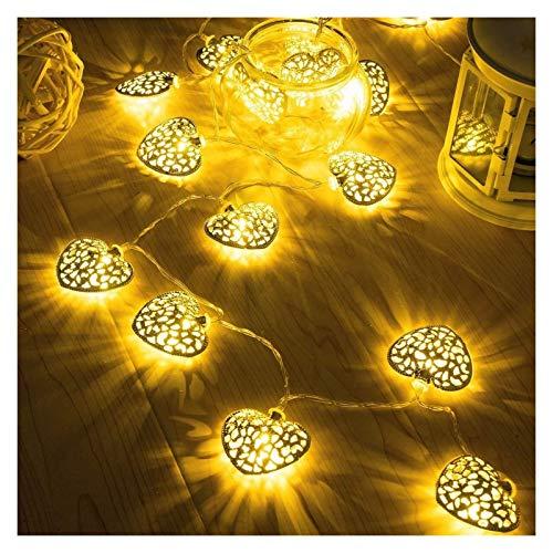 ZBM--ZBM Heart-Shaped Fairy Lights Garden Lights,5m 8Modes String Lights Wrought Iron Romantic Room Tree Lights Christmas Halloween Decoration Star Lights Fairy Lights