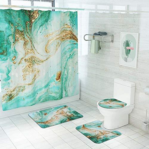 ETOPARS Marmor Textur Bad Duschvorhang Teppich Set 4 Stück Weiche & rutschfeste Badematte, U-förmiger Kontur Teppich, Toilettendeckelabdeckung 72 x 72 Zoll, Marmor Textur 09