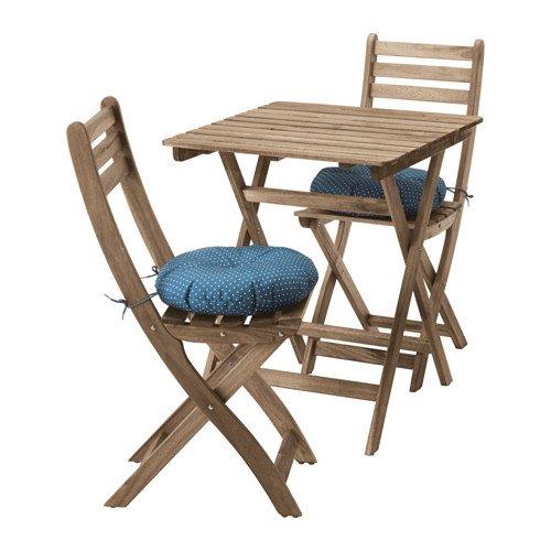 IKEA ASKHOLMEN Tisch + 2 Stühle Outdoor Grau Braun gebeizt 491.835.31