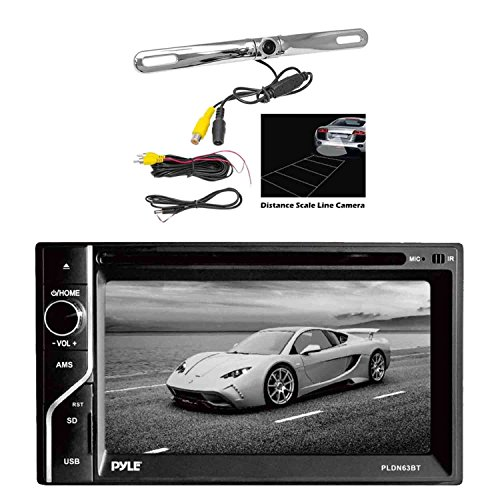Pyle PLDN63BT 6.5'' 2-DIN in-Dash Touch Screen Bluetooth Receiver with Pyle License Plate PLCM18SC Mount Rear View Backup Color Camera