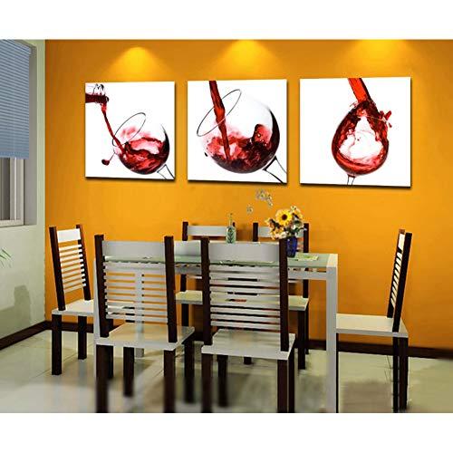 RHBNVR 40 * 40cm kunst 3 panelen Moderne HD Modulaire gedrukt rood wijnglas afbeelding canvas landschap voor woonkamer Kicthen Decor