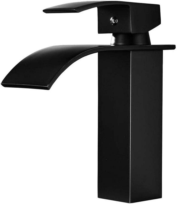 ZTMN Wasserhahn Schwarz Bronze Single u0026 Nbsp; Wasserfall Wasserhahn warmes und kaltes Wasser (Farbe  B), schwarz 2, a