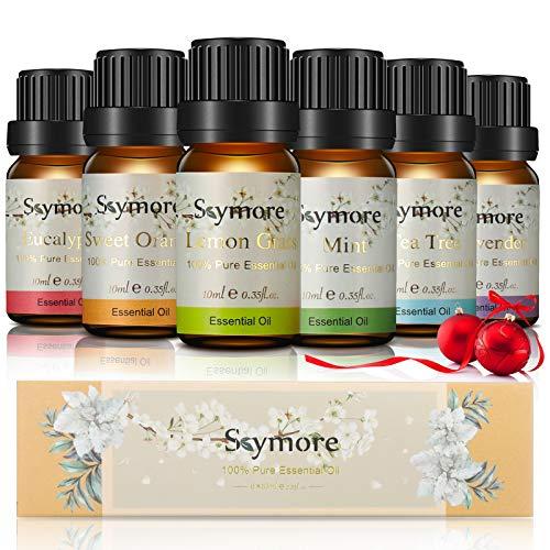 Skymore Set 6x10 ml di Oli Essenziali Puri, per Diffusori di Umidificatori,Lavanda,Arancia Dolce,Eucalipto,Tea Tree,Limone,Menta Piperita
