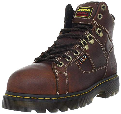 Dr. Martens - Men's Ironbridge Heavy Industry Boots, Extra Wide, with Internal Met Guard, Teak/Black, 12 XW US