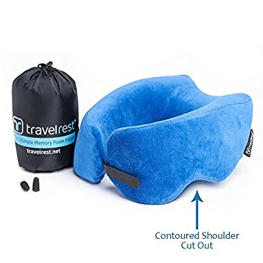 Travelrest - Ultimate Memory Foam Travel Pillow/Neck Pillow - Therapeutic, Ergonomic & Patented - Washable Cover - Most Comfortable Neck Pillow - Compresses to 1/4 of its Size (2 Year Warranty)