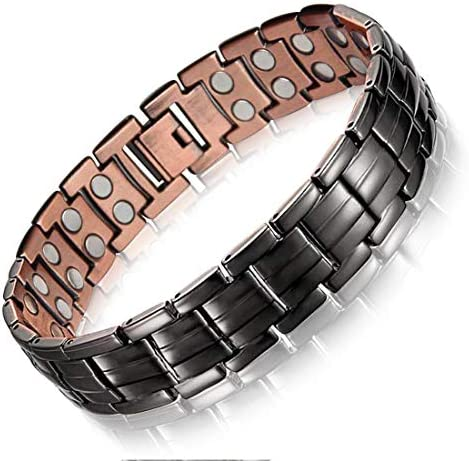 Men's Copper Magnetic Bracelet for Arthritis Pain Relief Elegant 99.99% Solid Copper Bracelets with Double-Row Strong Magnets