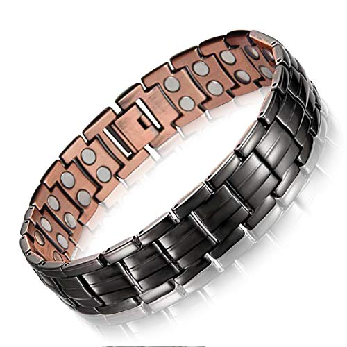 Feraco Magnetic Copper Bracelet for Men Arthritis Pain Relief 99.99% Solid Copper Jewelry Double Magnetic Bracelets, Black