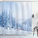 ABAKUHAUS Winter Duschvorhang, Schnee bedeckte Berg Tal, Waserdichter Stoff mit 12 Haken Set Dekorativer Farbfest Bakterie Resistet, 175 x 200 cm, Baby blau
