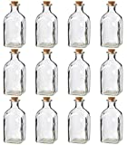 Juvale Clear Glass Bottles with Cork Lids- 12 Pack of Small Transparent Jars...