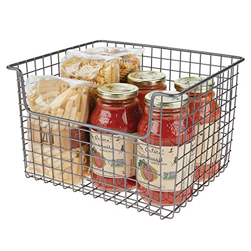 mDesign Metal Kitchen Pantry Food Storage Organizer Basket Bin - Farmhouse Grid Design with Open Front for Cabinets, Cupboards, Shelves - Holds Potatoes, Onions, Fruit - 12' Wide - Graphite Gray