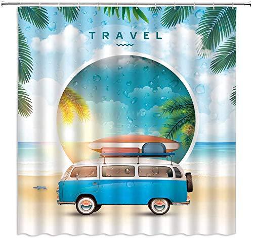 Cortinas de Ducha con Paisaje de Playa, Tabla de Surf para Coche de Dibujos Animados, Verano, océano, Vacaciones, Viajes, Paisaje, decoración de baño, Cortina Colgante de Tela