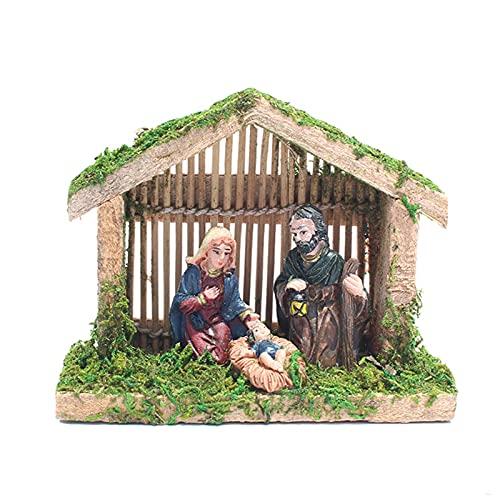 Ivyhouse Decoraciones de Navidad Belén conjuntos para Navidad interior Bebé Jesucristo en Pesebre vacaciones Navidad Santa Biblia Granja Nacimiento-Pascua (B)