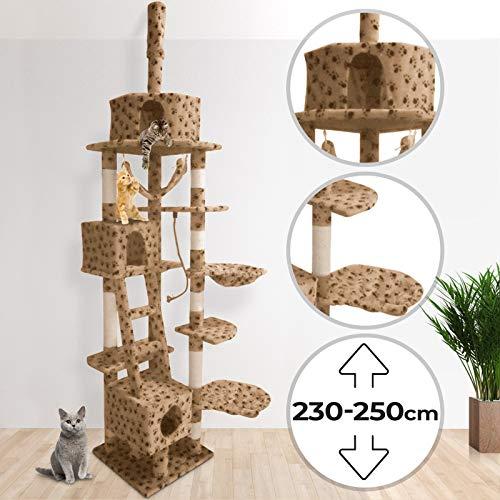 Kratzbaum für Katzen - Deckenhoch, mit 3 Höhlen, Liegeflächen und Körbe, Sisal, MDF Holz und Plüsch, Farbwahl - Katzenkratzbaum, Kletterbaum, Katzenmöbel, Spielbaum, Katzenspielzeug
