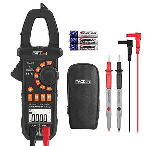 TACKLIFE Digital Clamp Meter, CM01A Advanced Clamp Multimeter Ammeter, 4000 Count Measurement AC/DC Current and Voltage, NCV, Resistance, Continuity Test, Relative Measurement, LED Backlight