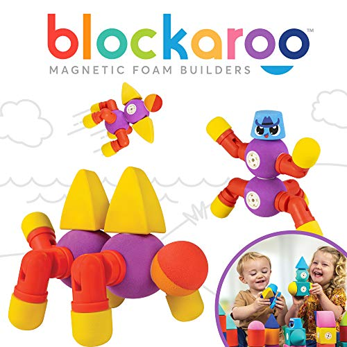 Blockaroo Magnetic Foam Building Blocks - STEM Construction Toys for Boys and Girls, Soft Foam Blocks Develop Early Learning Skills, The Ultimate Bath Toys for Toddlers & Kids - Critter Set