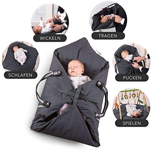 Schubidoo baby's bag in grau | Baby Multifunktions Tasche 5 in 1 | geeignet zum Spielen, Wickeln, Pucken, Schlafen und als Baby Tragetasche oder Einschlafhilfe