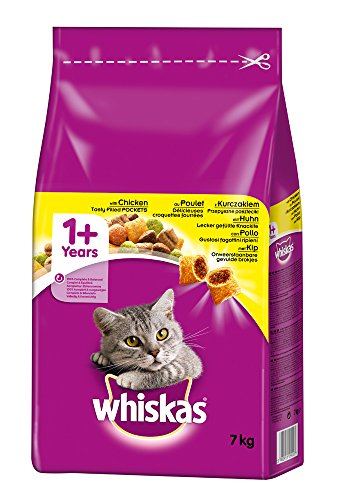 Whiskas Katzenfutter Trockenfutter Adult 1+ mit Huhn, 1 Beutel (1 x 7 kg)