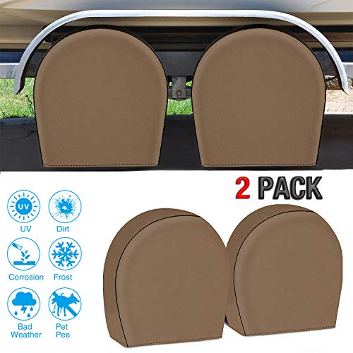 Fonzier Waterproof Tire Covers Set of 2 Heavy Duty 600D Oxford Motorhome RV Wheel Covers Tire Protectors for Trailer Camper Truck Auto, Fits 26.75''-29'' Tire Diameters