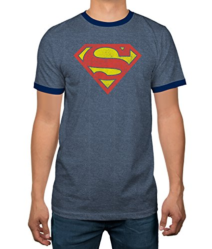 DC Comics Justice League Superman Logo Heather Blue Ringer Mens TShirt Medium