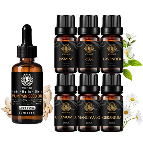 Aromaterapia jazmín aceite esencial set con aceite portador para masaje, 100% puro semilla de calabaza Aceite esencial,7x10ml 100% puros rosa aceites set-lavanda,geranio,ylang ylang,manzanilla aceites