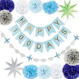 Decoraciones Fiesta 14Pcs Party Paper Decoration Set Happy Birthday Banner Circle Garland Paper Star Pom Pom Flower Para Baby Shower Primer Cumpleaños, Azul