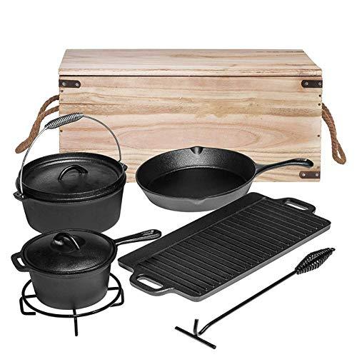 7-teiliges Dutch Oven Set in Holzkiste, Gusseisen, bereits eingebrannt, mit Kochtopf, Stieltopf,Deckelheber und Untersetzer, Grillplatte, Pfanne, für BBQ,Kochen