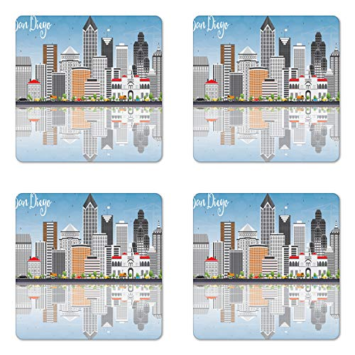 Ambesonne San Diego Coaster Set of 4, San Diego Skyline with Grey Buildings Blue Sky and Reflections Downtown Panorama, Square Hardboard Gloss Coasters, Standard Size, Grey Blue