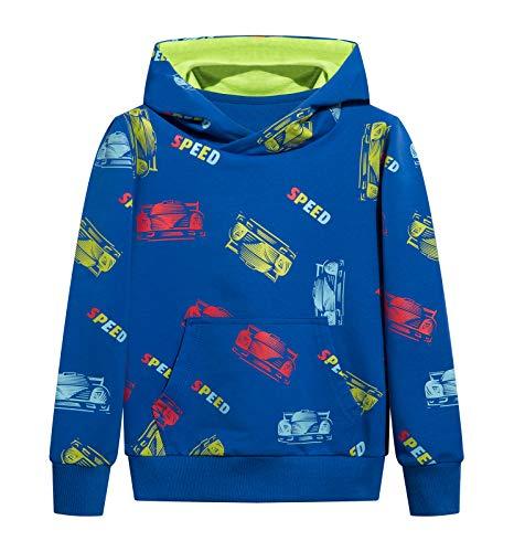 YOUNGSOUL Kapuzenpullover Kinder Sweatshirt mit Autodruck Reflektierende Hoodie Jungen Pullover Blau Auto 116-122/Größe 120
